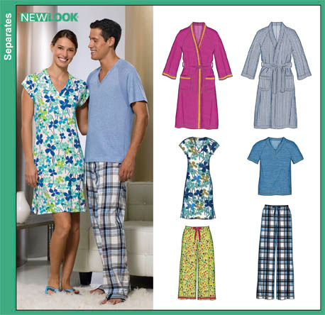 New Look 6858 Misses Men And Teens Robe Pajama Pants Knit Top Misses Only Knit Nightshirt