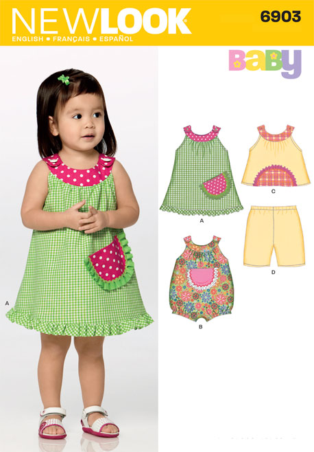 New Look 6903 Babies Dress, Top, Pants and Romper sewing pattern