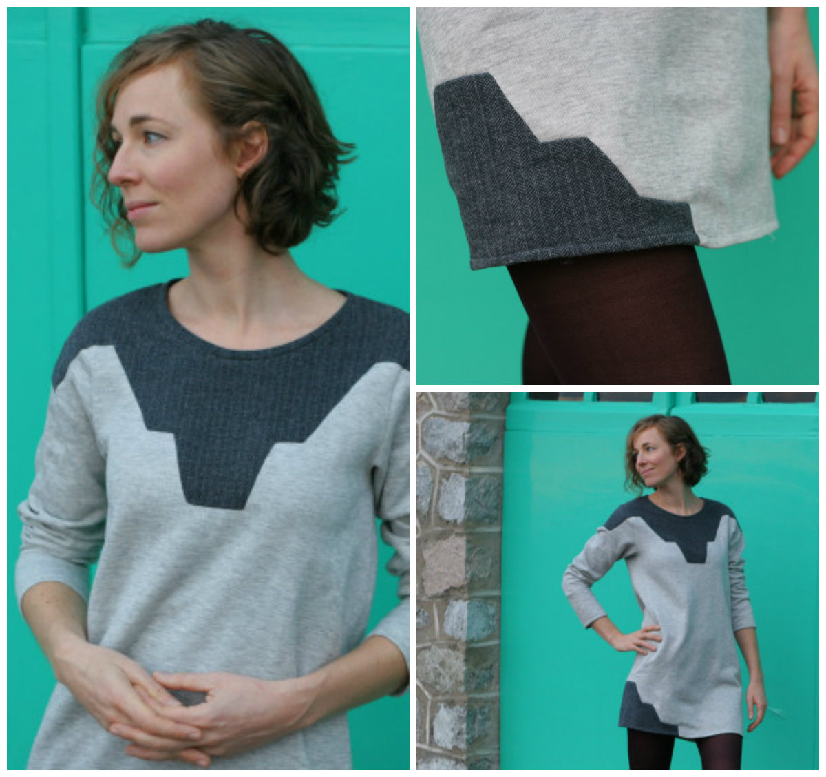 This sweater is made of 4 separate pieces. You will have two identical front and back panels. Then, you will create identical sleeve panels. The sweater is started at the ribbing section and turned to work each panel from the bottom up. The design offers a drop-sleeve style.