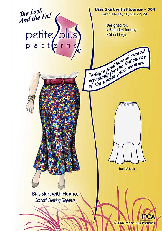 Petite Plus Patterns 504 Bias cut skirt with flounce