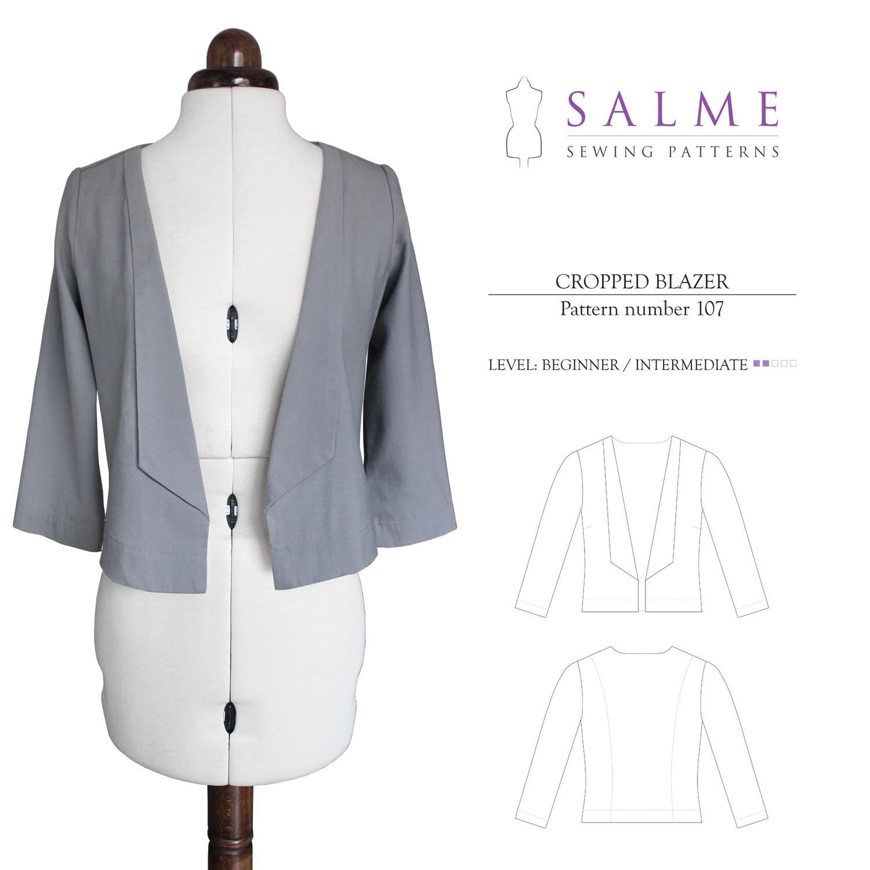 Salme Sewing Patterns 107 Cropped Blazer Downloadable Pattern