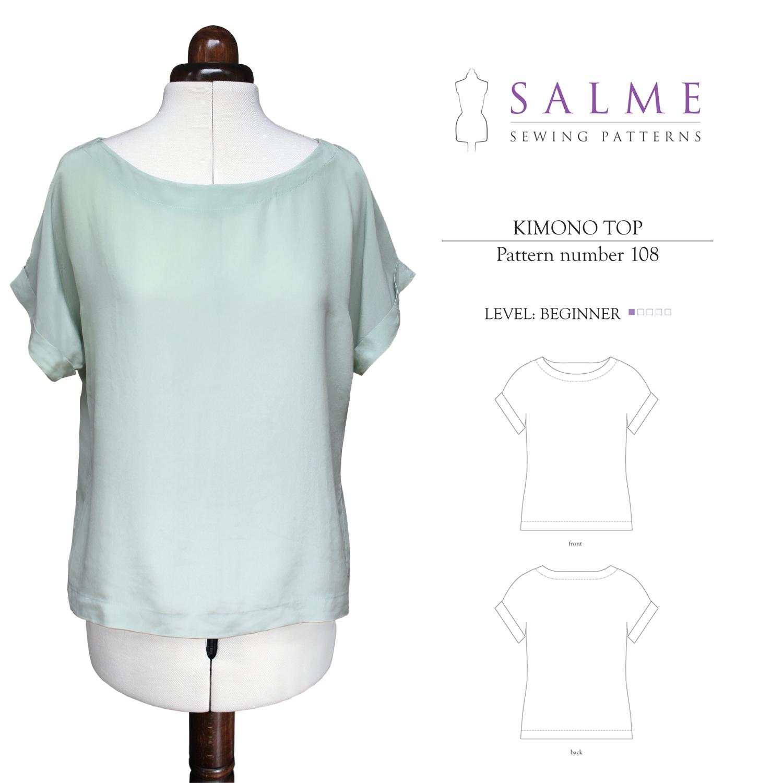 Salme Sewing Patterns 108 Kimono Top Downloadable Pattern