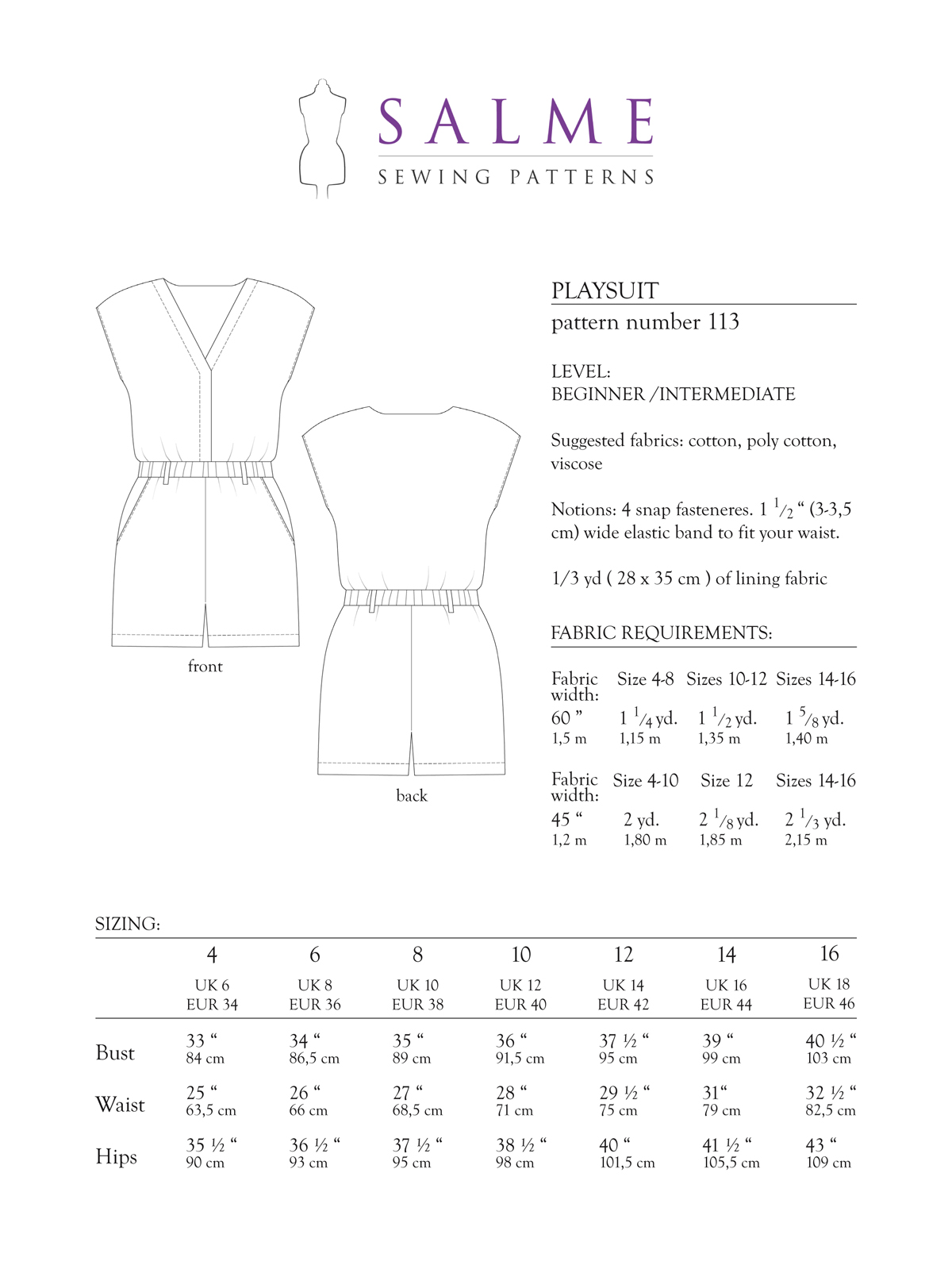 Salme Sewing Patterns 113 Playsuit Downloadable Pattern