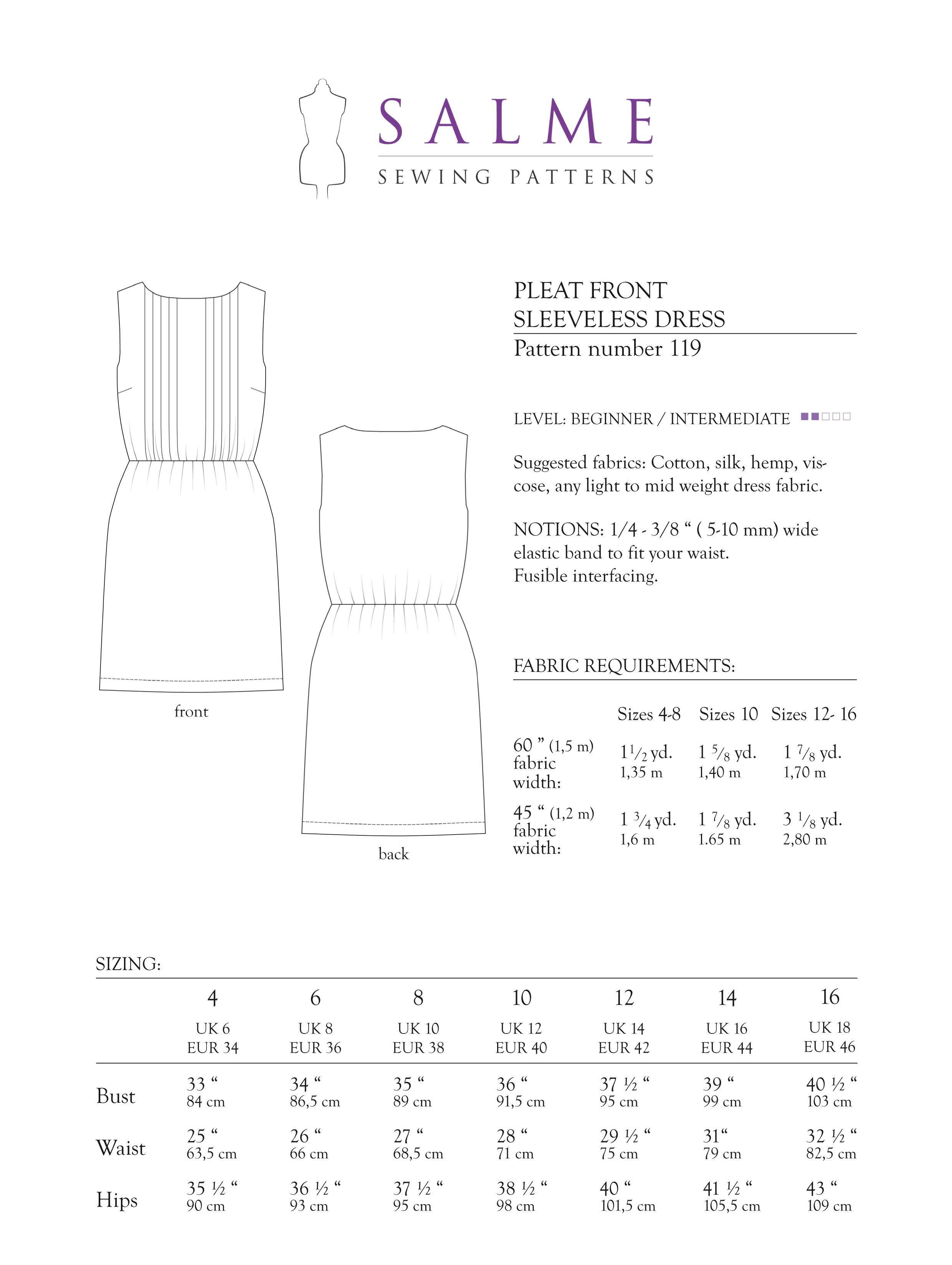 Salme sewing patterns 119 pleat front sleeveless dress prevnext jeuxipadfo Gallery