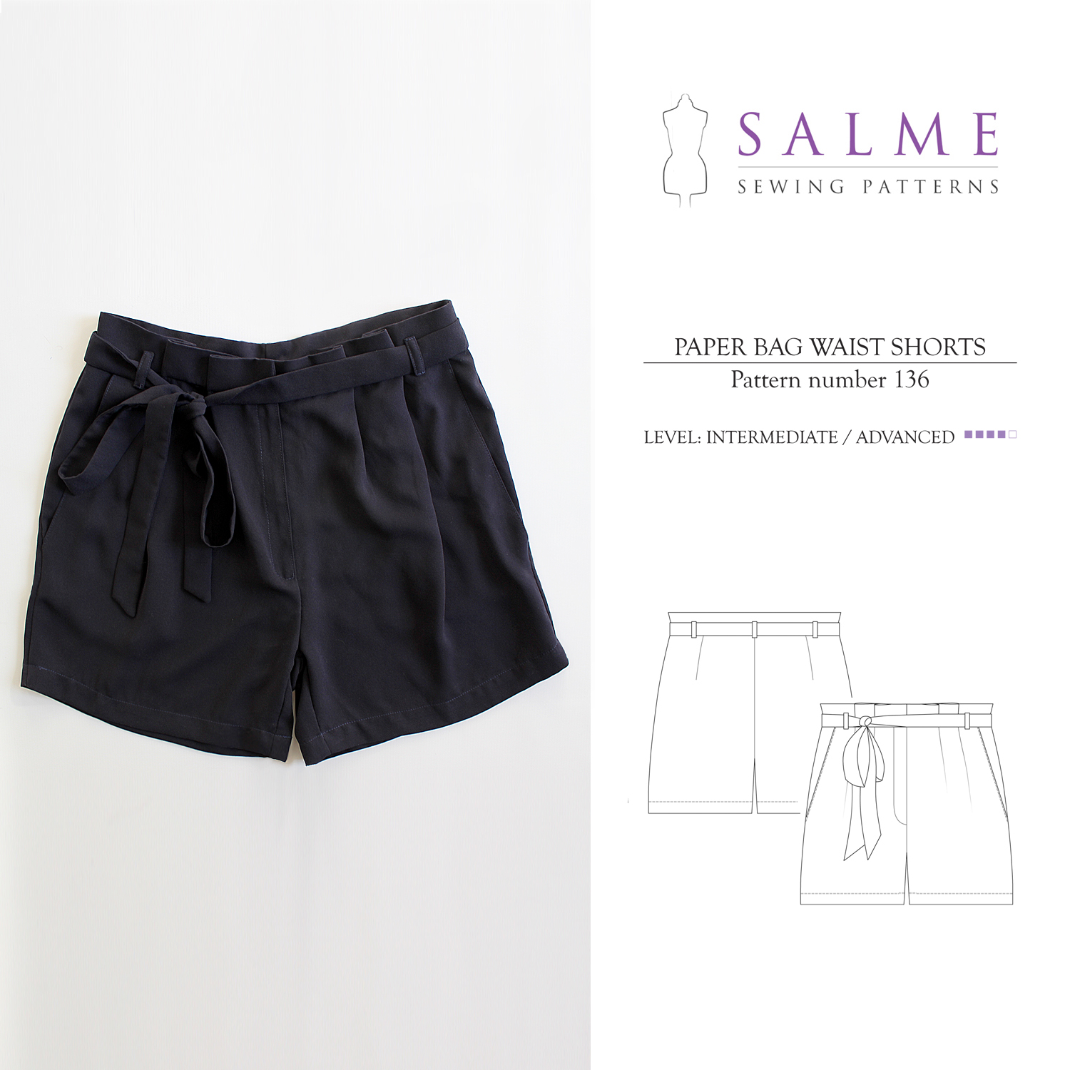 salme sewing patterns 136 paper bag waist shorts