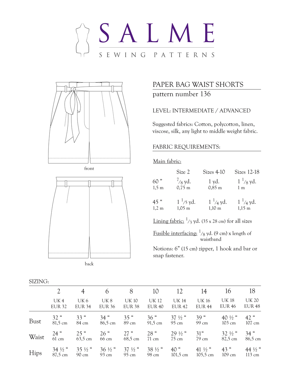 Salme Sewing Patterns 136 Paper Bag Waist Shorts Downloadable Pattern