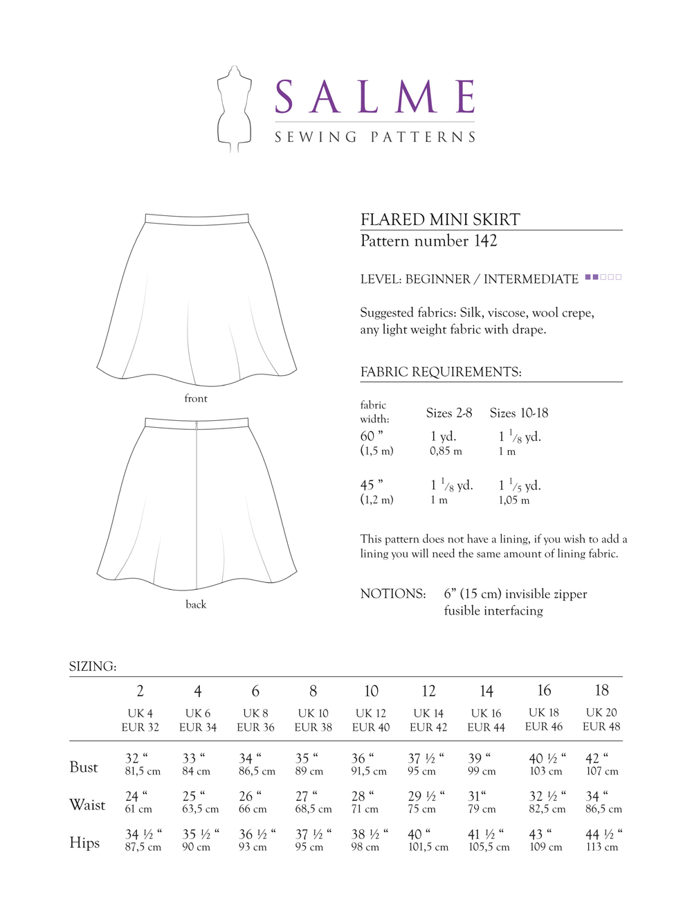 Salme Sewing Patterns 142 Flared Mini Skirt Downloadable Pattern