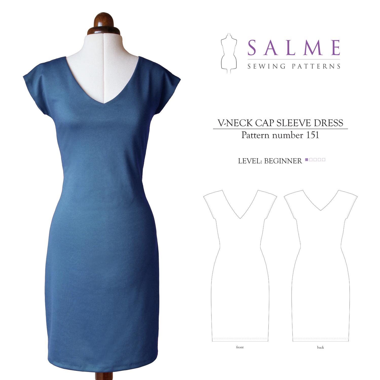 Salme Sewing Patterns 151 V-Neck Cap Sleeve Dress Downloadable Pattern