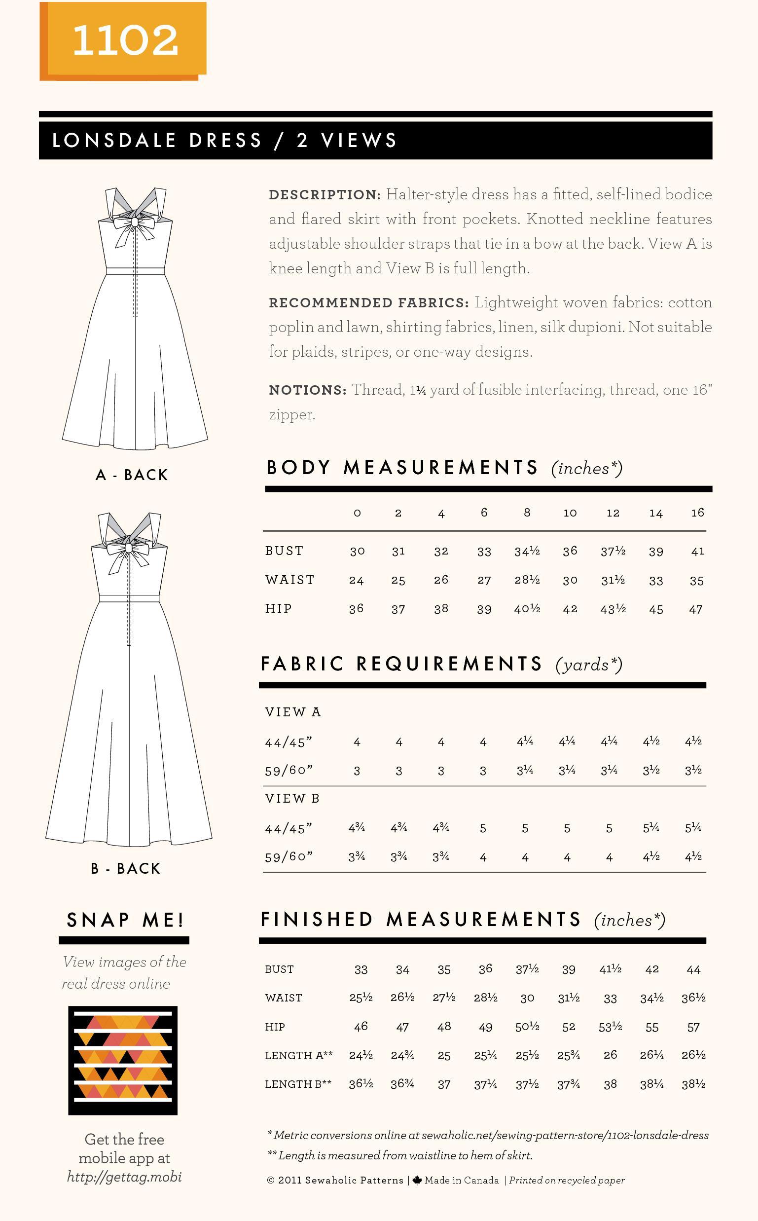 e19eb4a49117b Sewaholic Patterns 1102 Lonsdale Dress