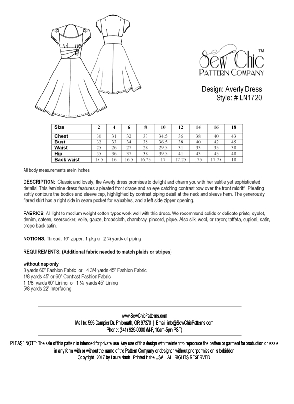 Sew Chic LN1720 Averly Dress