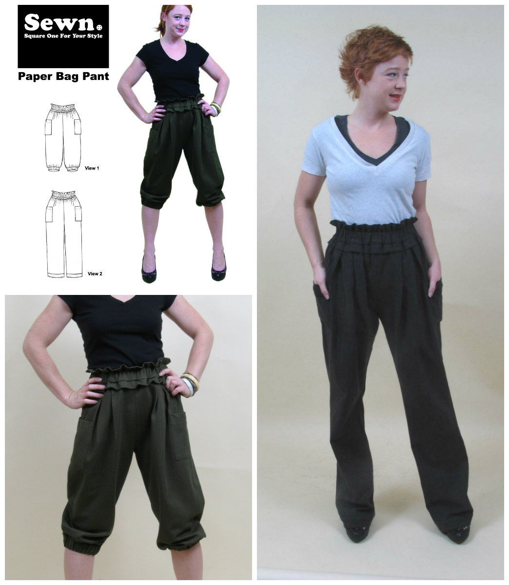 Paper bag waist pants pattern - Sewn Square One Paper Bag Pant 1005