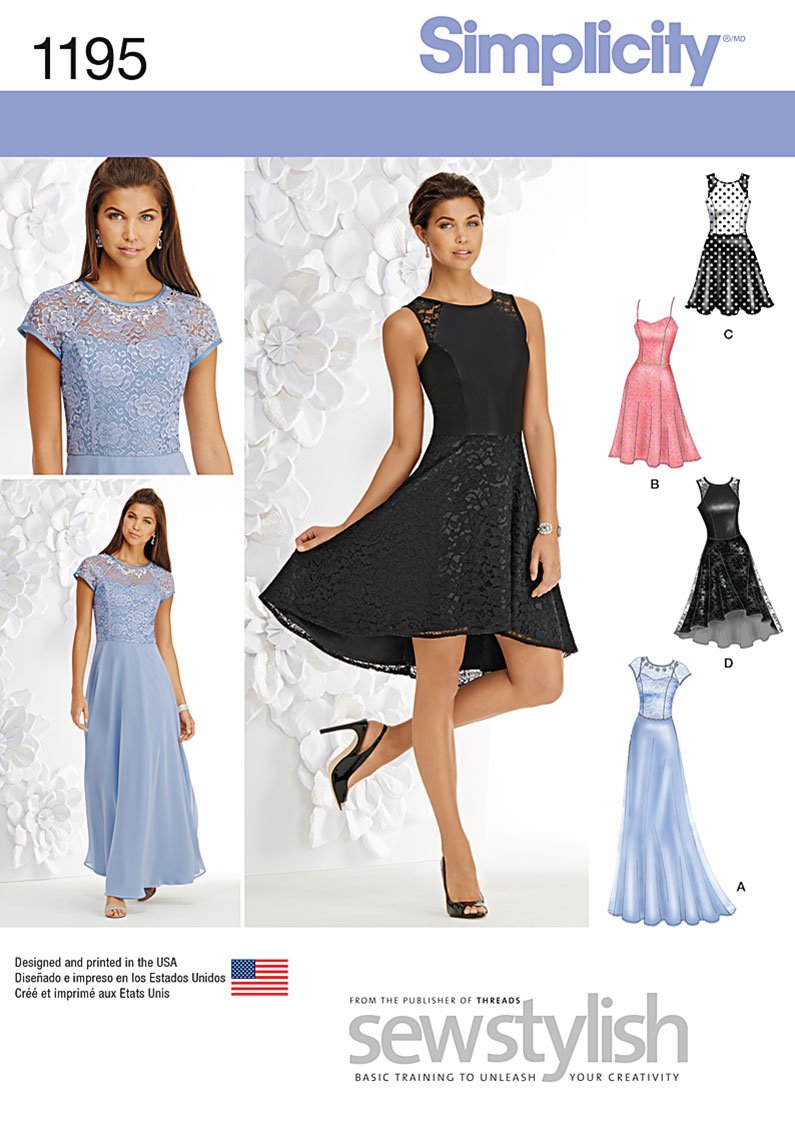 Simplicity 1195 Misses and Miss Petite Special Occasion Dress
