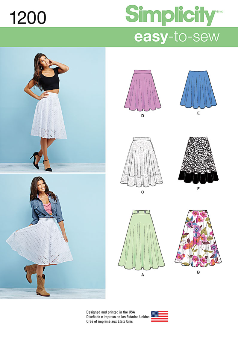 Simplicity 1200 Misses 3 4 Circle Skirt With Length Variations