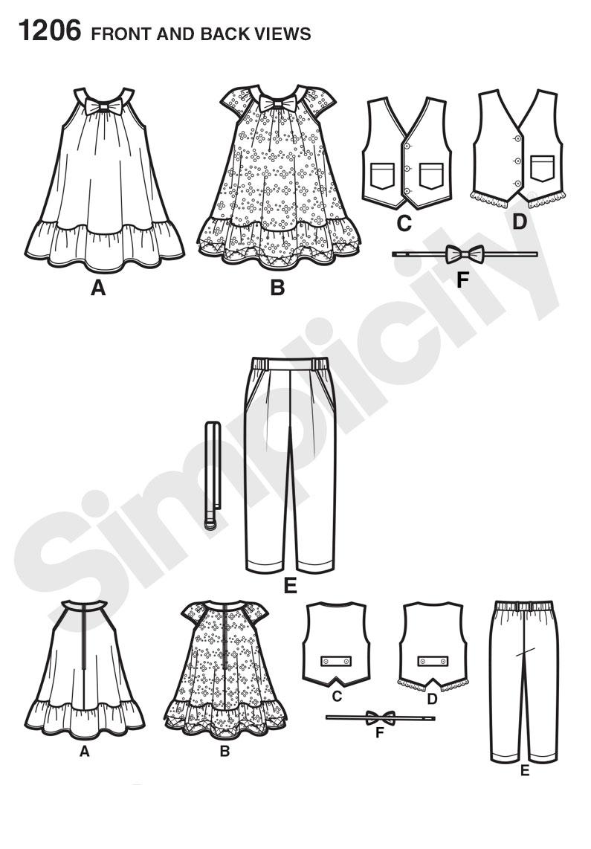 Simplicity 1206 toddlers pants vest dress bow tie and belt prevnext jeuxipadfo Images
