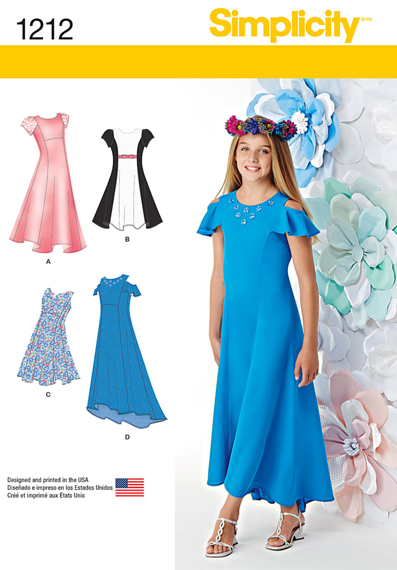 Simplicity 1212 Girls\' and Girls\' Plus Dresses