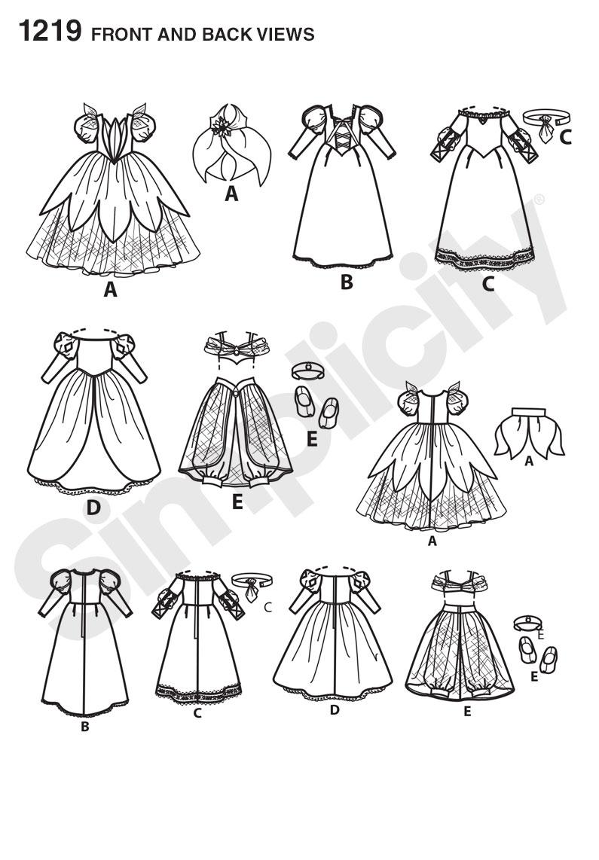 Simplicity 1219 Disney Princess 18 Quot Quot Doll Clothes