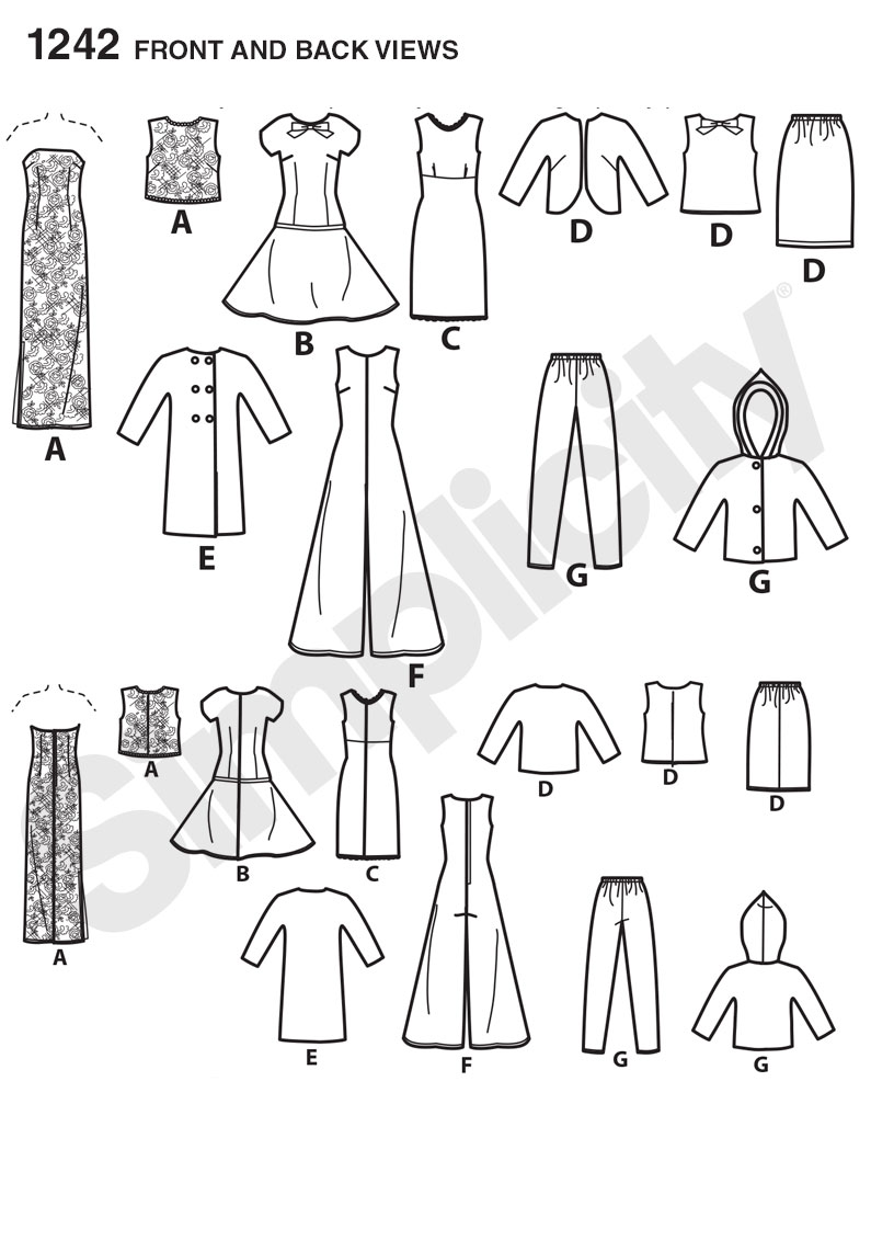 Simplicity 1242 Vintage Doll Clothes for 11 1/2\
