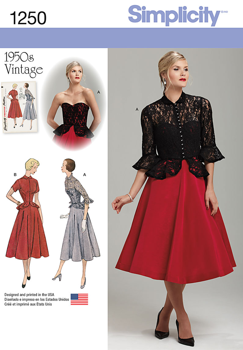 Simplicity 1250 Misses' Vintage 1950's One Piece Dress and Jacket