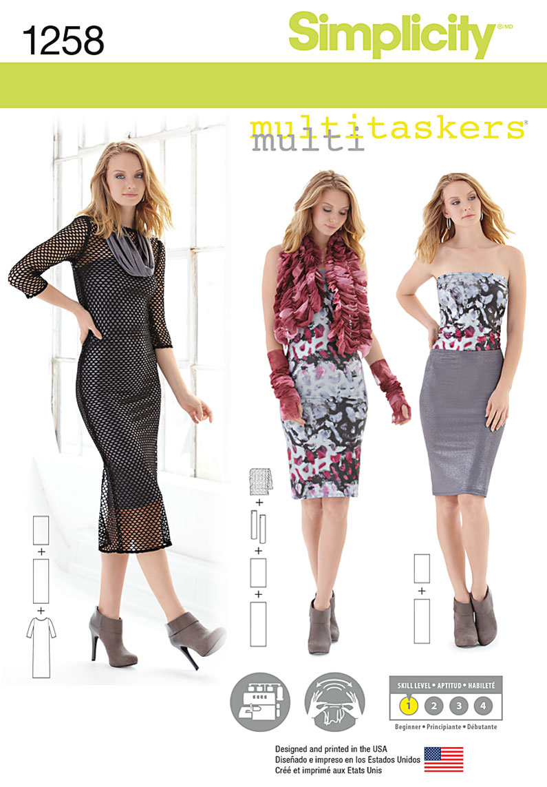 Simplicity 1258 Misses\' Easy Knit Pieces. Multitaskers Collection.