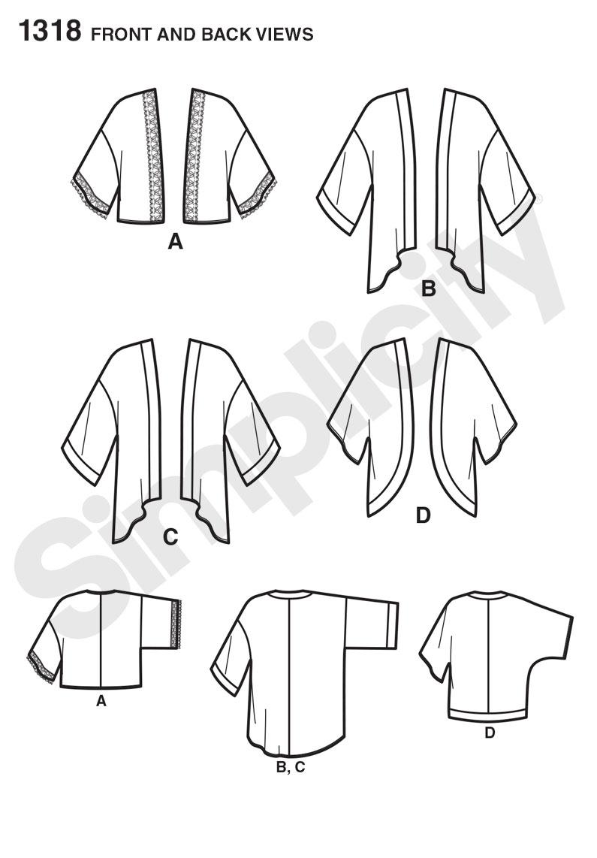 Simplicity 1318 Misses' Kimono Jackets