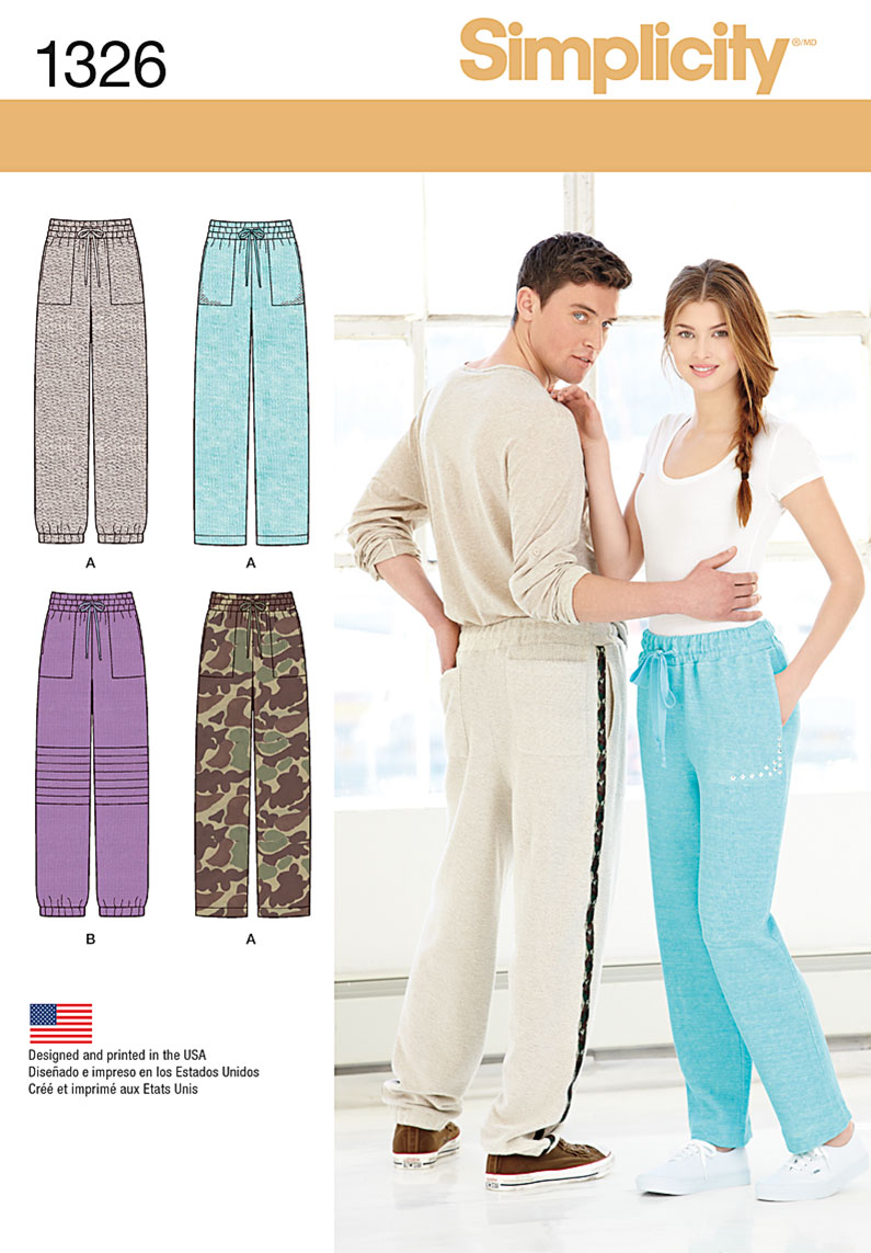 Simplicity 1326 Misses And Men S Track Pants