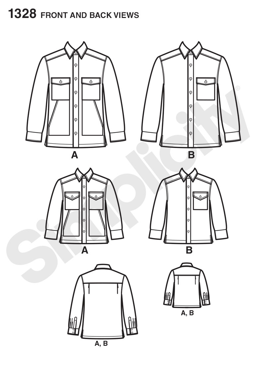 Simplicity 1328 Boys\' and Men\'s Shirt Jacket
