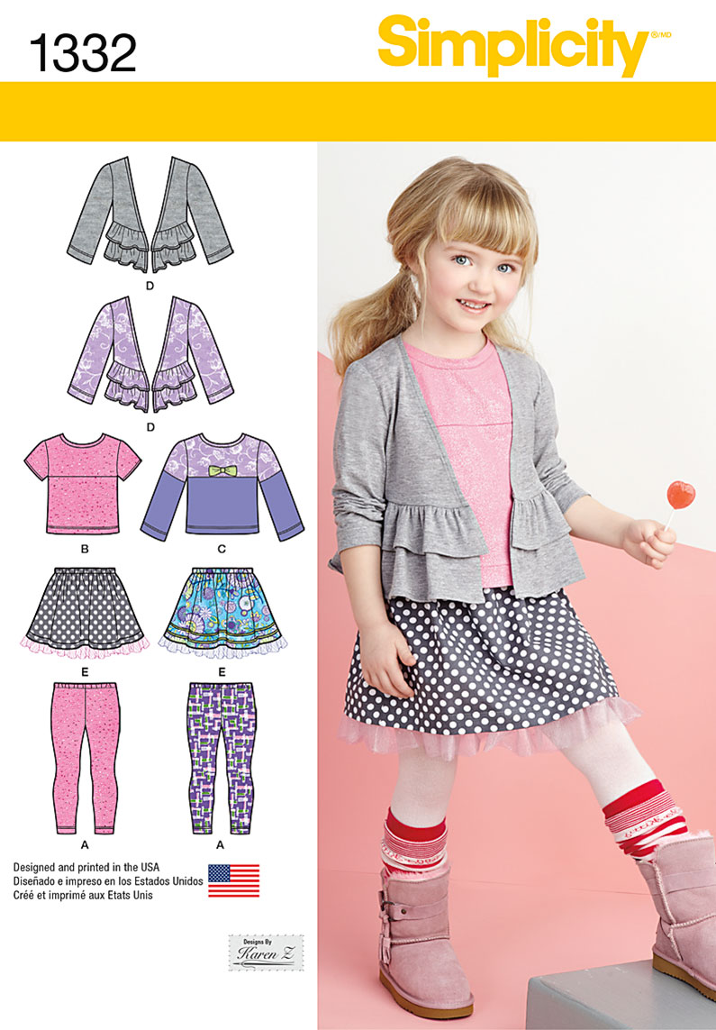 Simplicity 1332 Child S Skirt Knit Leggings Top And Cardigan