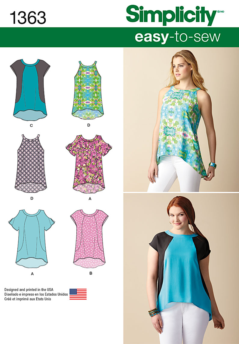 Simplicity 1363 misses loose fitting top with or without sleeves prevnext jeuxipadfo Image collections