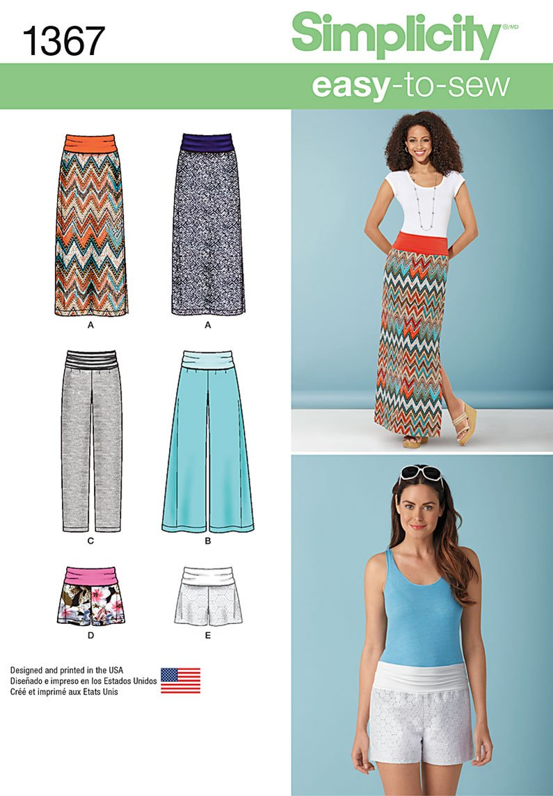 Simplicity 1367 Misses' Slim Maxi Skirt, Wide Leg Pants ...