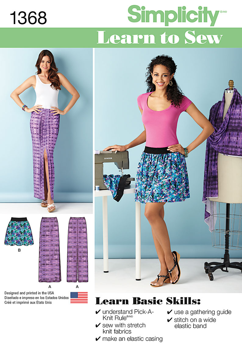 Simplicity 1368 Misses\' Learn to Sew Skirts with Elastic Waistband