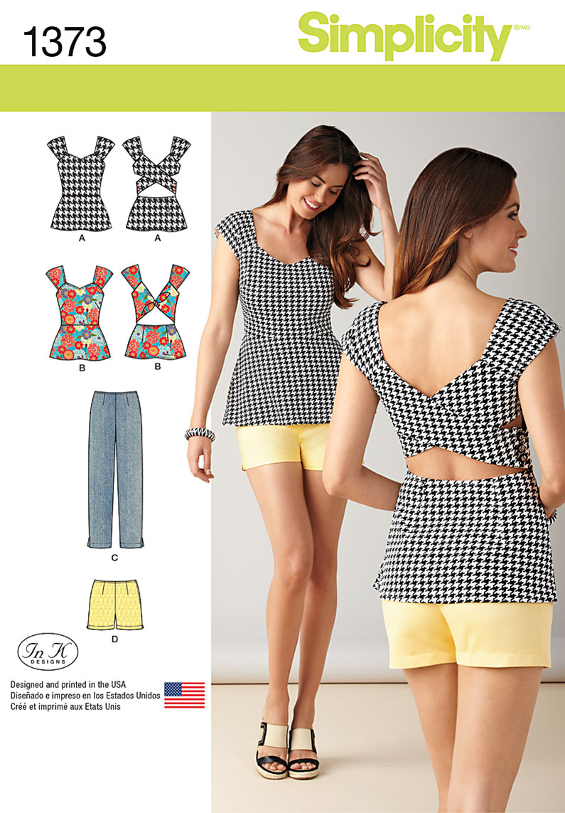 Simplicity 1373 misses slim pants shorts and tops with back details prevnext jeuxipadfo Images