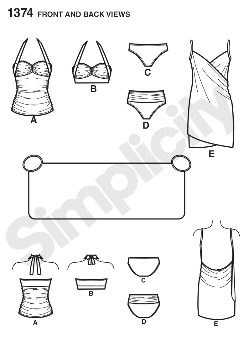 Simplicity 1374 Misses\' Two-Piece Swimsuit & Cover-up