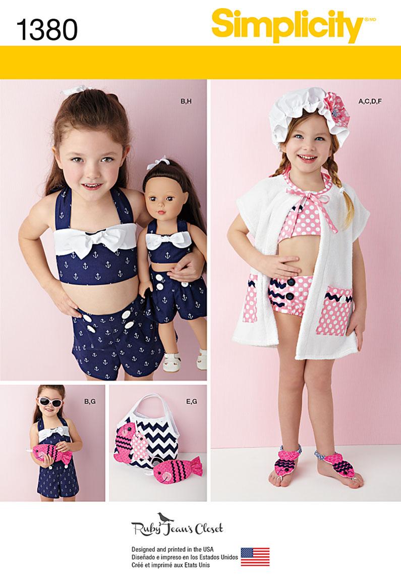 Simplicity 1380 childs swim play suit plus accessories prevnext jeuxipadfo Gallery