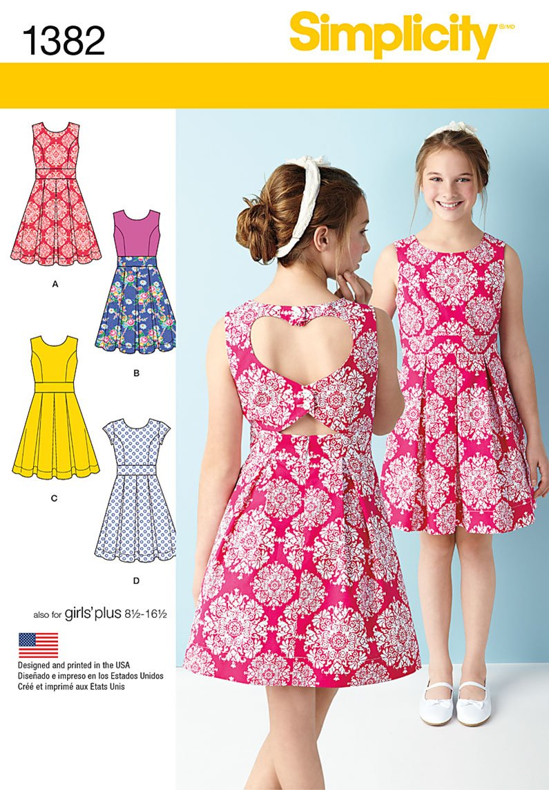 Simplicity 1382 Girls'/Girls' Plus Dress with Back Variations