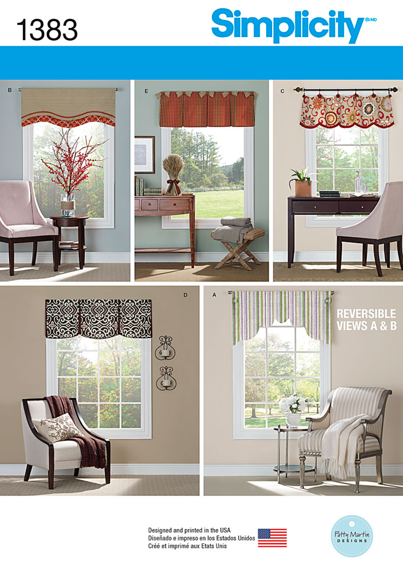 Simplicity 1383 Valances For 36 To 40 Wide Windows