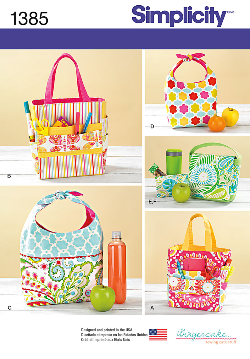 Simplicity art caddies lunch bags and snack bag