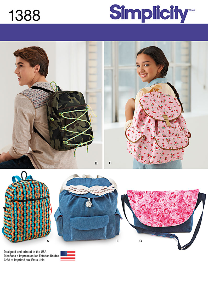 Simplicity 1388 Backpacks and Messenger Bag
