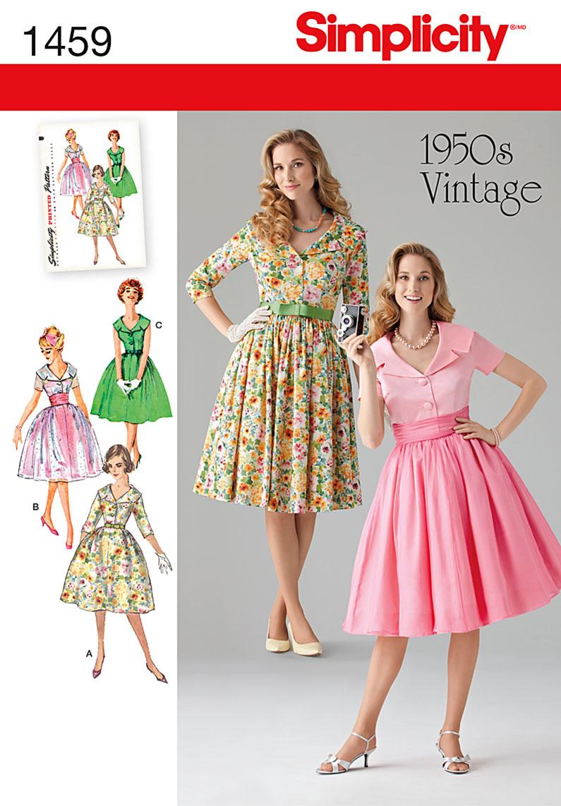 Simplicity 1459 misses 39 miss petite 1950 39 s vintage dress for Vintage kleider kinder