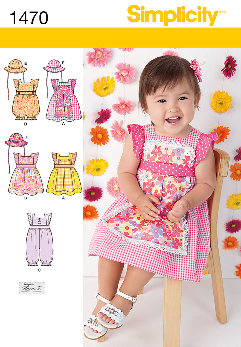 Simplicity 1470 Babies Dress Romper And Hat In Three Sizes