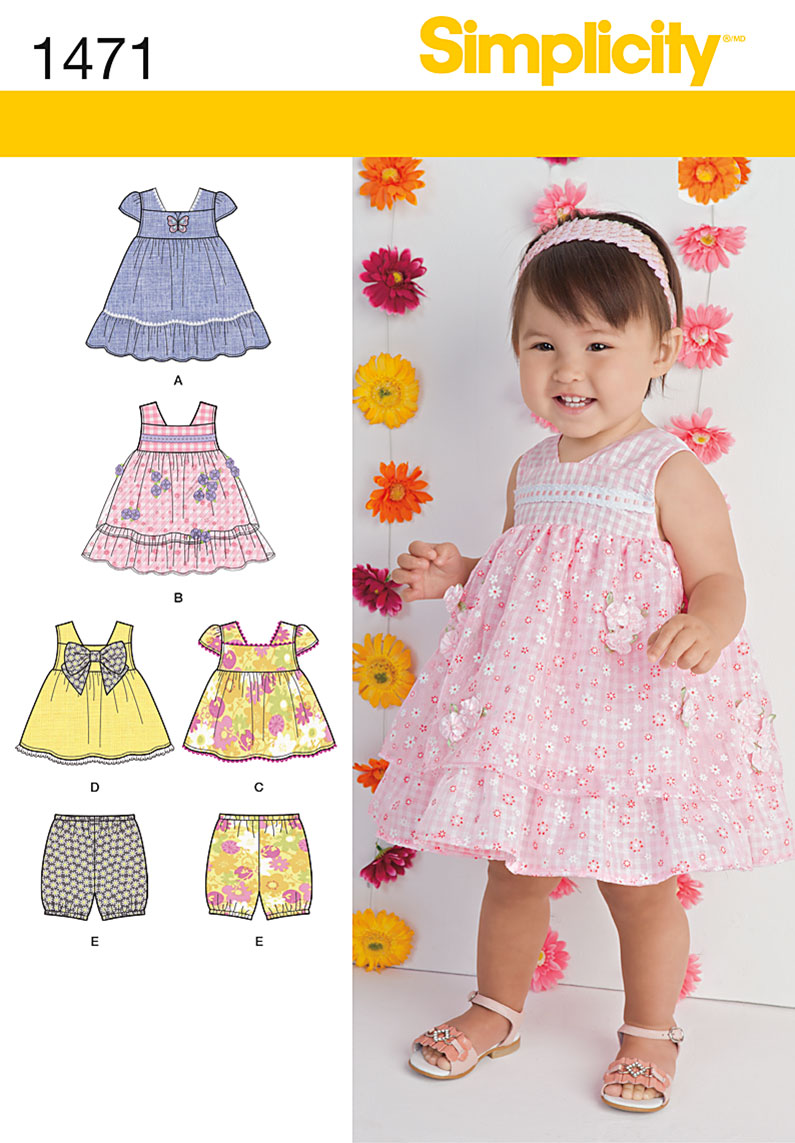 Simplicity 1471 Babies Dress Top And Bloomers