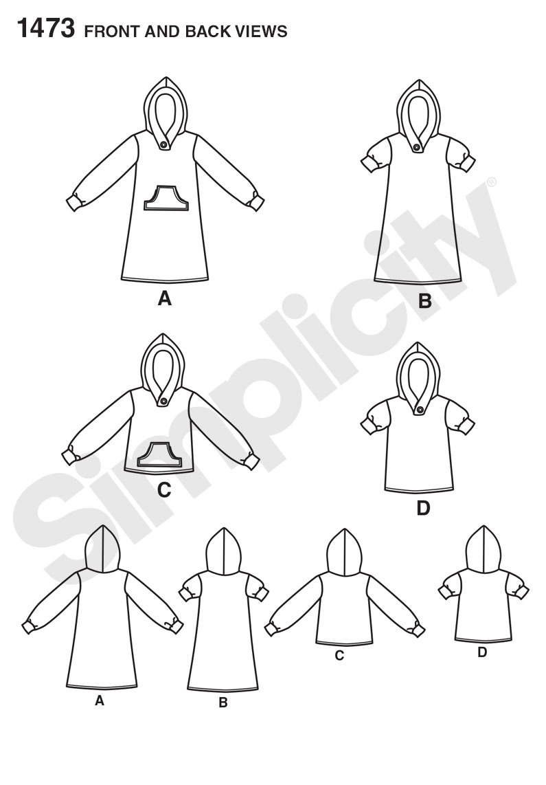 Simplicity 1473 toddlers knit hooded dress and top prevnext jeuxipadfo Choice Image