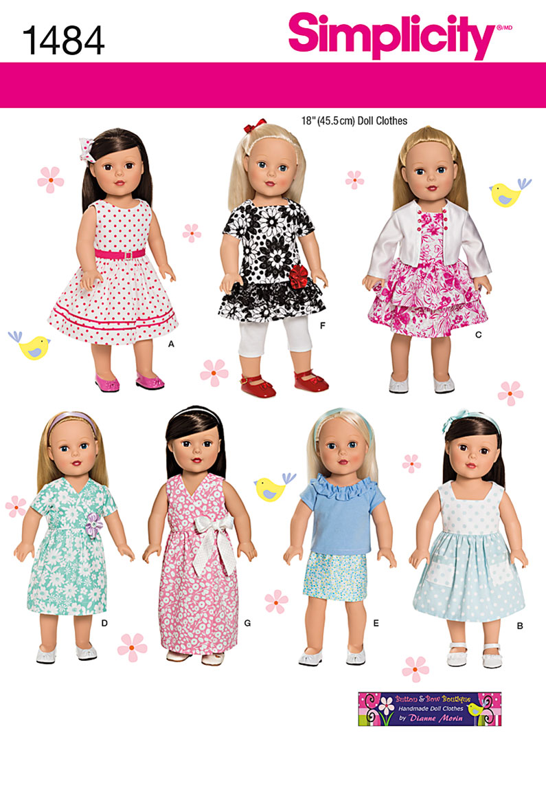 ... simplicity crafts 1484 18 doll clothes simplicity 1484 18 doll clothes