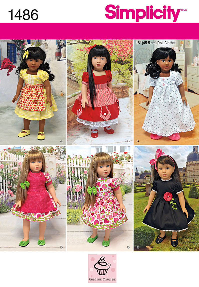 "Simplicity 1486 Vintage Style 18"" Doll Clothes"
