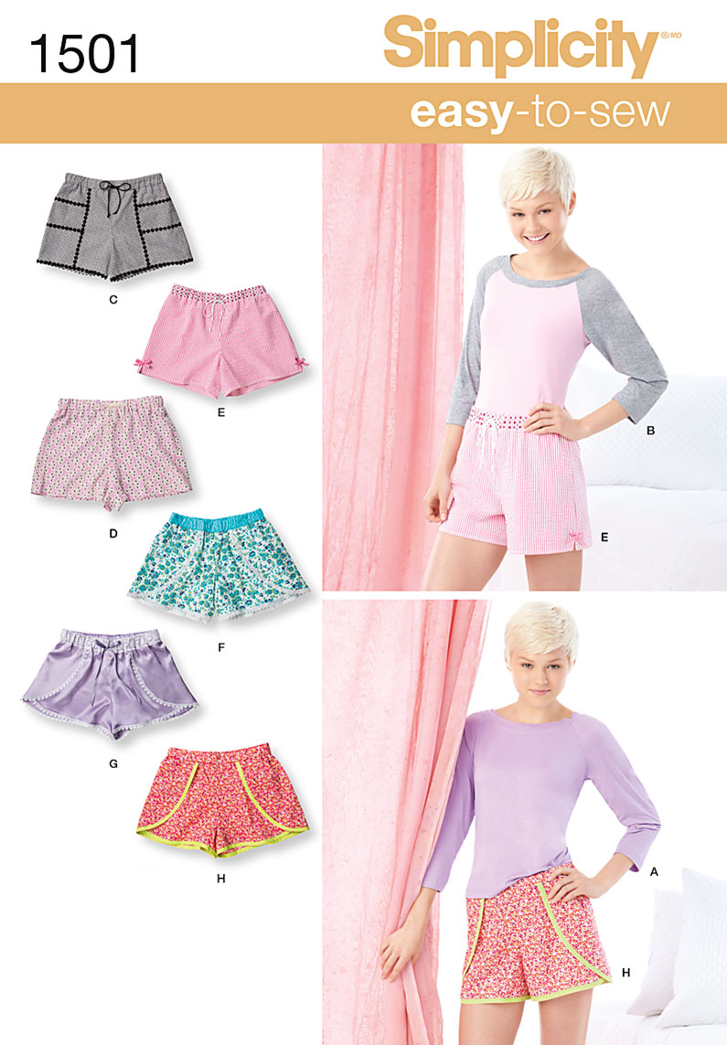 Simplicity 1501 Misses' Lounge Shorts and Raglan Knit Top