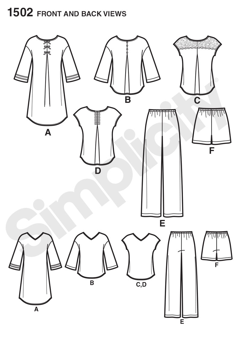 Simplicity 1502 Misses\' Pants or Shorts and Nightshirt or Top