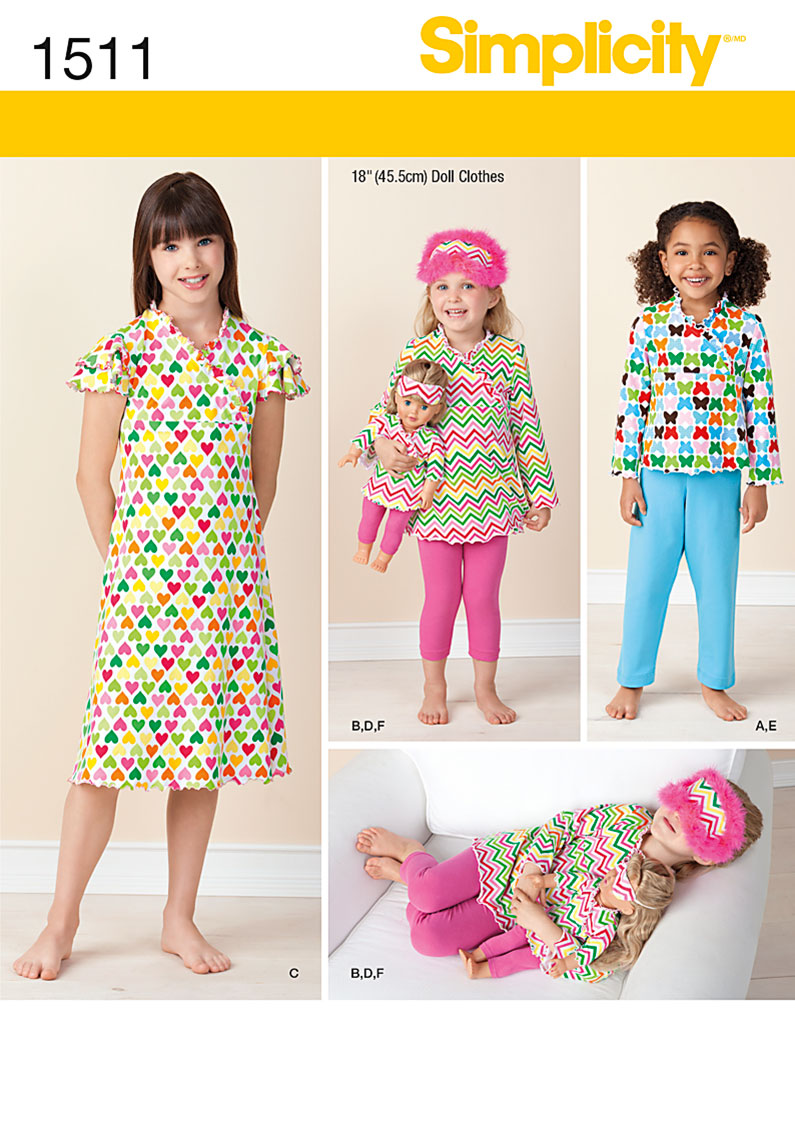 Simplicity 1511 Child And 18 Quot Doll Matching Loungewear
