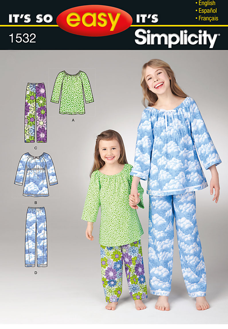Simplicity 1532 It s So Easy Child s and Girls  Top   Pants a052ef1f5