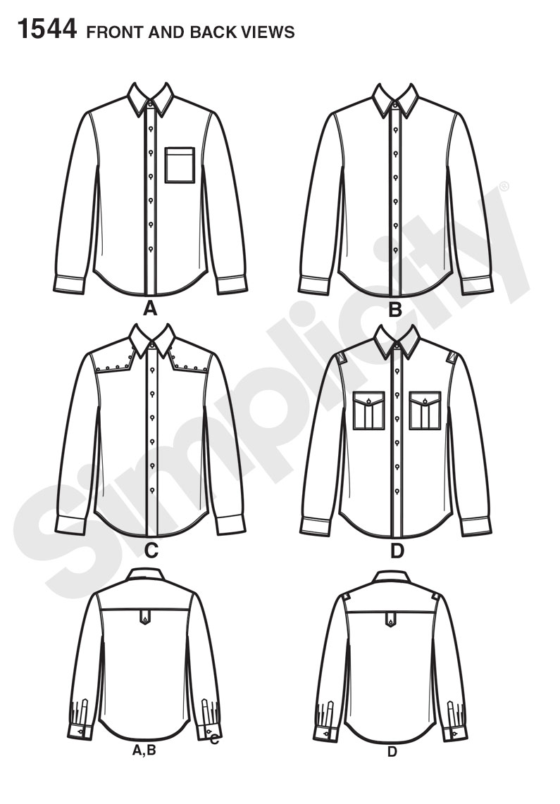 Simplicity 1544 mens shirt with fabric variations prevnext jeuxipadfo Images