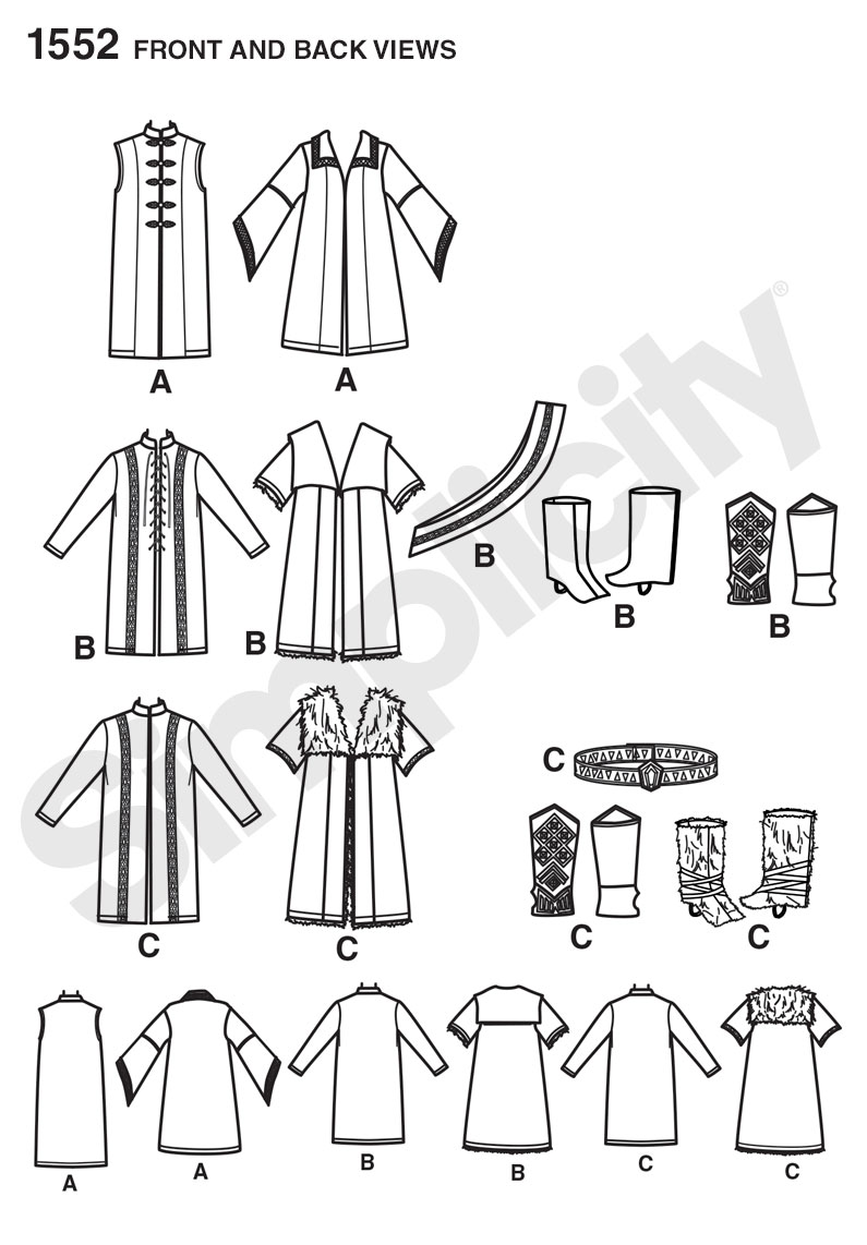 Simplicity 1552 Men\'s Medieval Tunic, Cloak, and Accessories