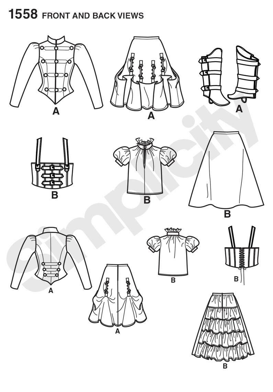 Simplicity 1558 misses steampunk costume prevnext jeuxipadfo Gallery